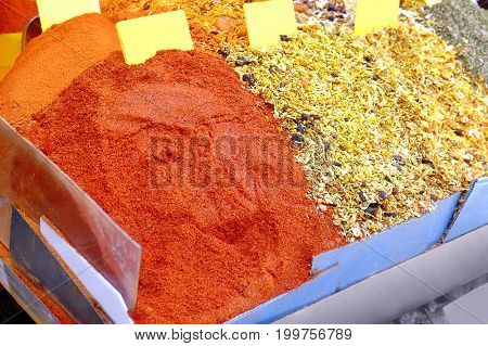 Different spices at market