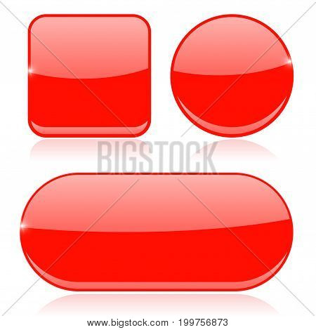 Red buttons. Round, square and oval shiny icons. Vector 3d illustration