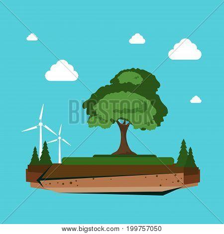 Nature Landscape With Wind Turbine Alternative Energy Resource Concept Flat Vector Illustration