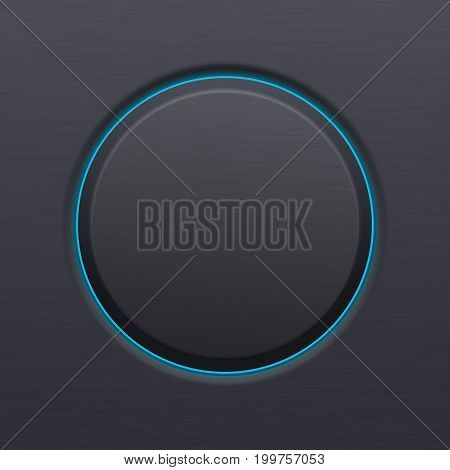 Black matted plastic button with blue backlight. Vector 3d illustration