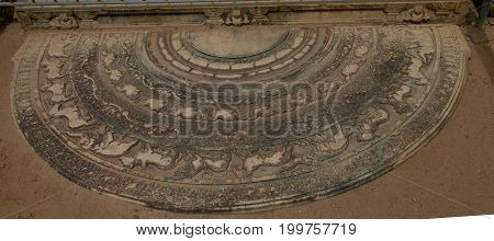The threshold aka moonstone in the Polonnaruwa ruin at Sri Lanka