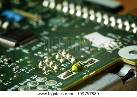 Green circuit board representative of the high tech industry and computer science