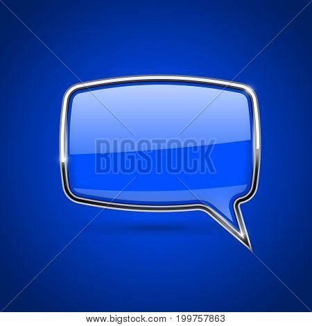 Blue speech bubble with chrome frame. On blue background. Vector 3d illustration