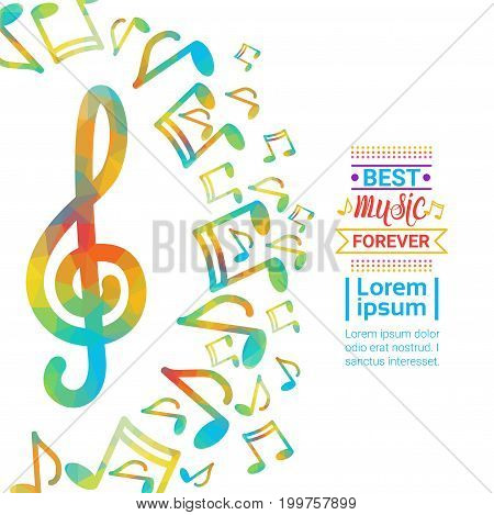 Notes Music Concert Banner Colorful Modern Musical Poster Flat Vector Illustration