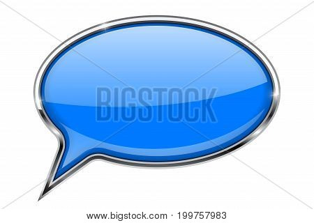 Speech bubble. Blue 3d icon with chrome frame. Vector illustration isolated on white background