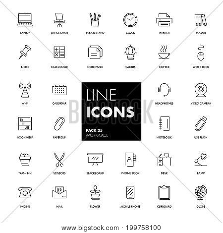 Line icons set. Workplace pack. Vector illustration.