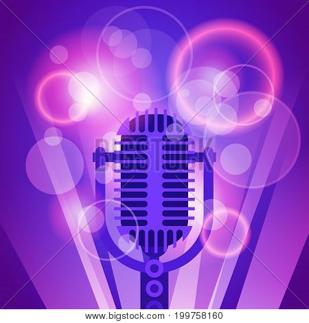 Microphone Music Banner Colorful Pop Art Style Modern Musical Poster Flat Vector Illustration