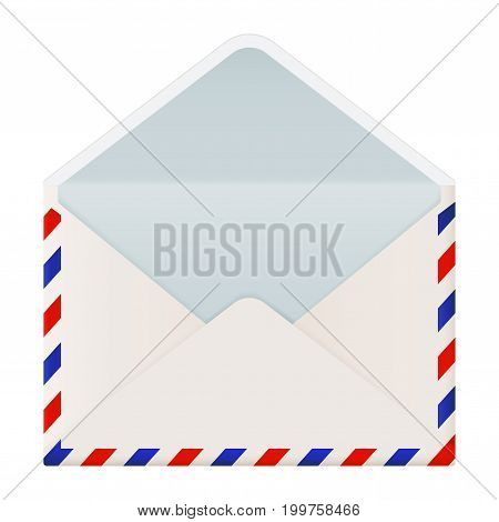 Open envelope. International air mail with red and blue frame. Vector 3d illustration isolated on white background