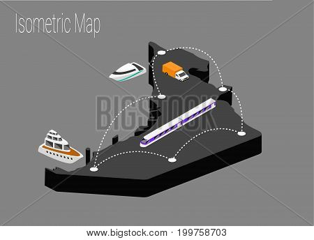 Map United Arab Emirates isometric concept. 3d flat illustration of Map UAE.