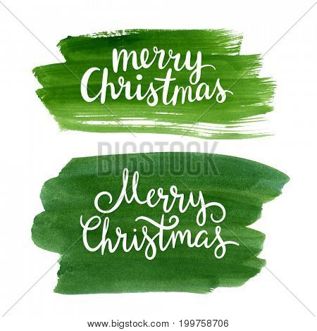 Merry Christmas lettering on watercolor background