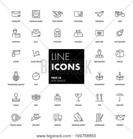 Line icons set. Post service pack. Vector illustration.