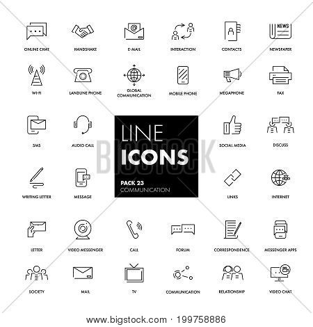 Line icons set. Communication pack. Vector illustration.