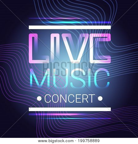 Live Music Concert Banner Colorful Style Modern Musical Poster Flat Vector Illustration