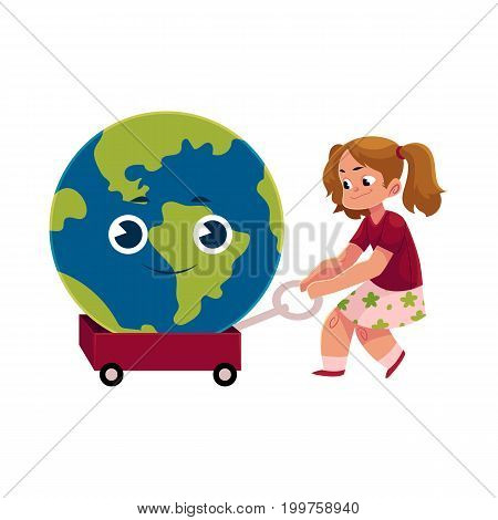 Girl pulling litttle cart with smiling Globe, Earth planet character, cartoon vector illustration isolated on white background. Pretty girl pulling cart, wagon, trolley with cartoon Globe character