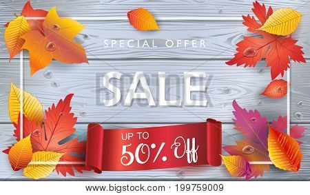 Thanksgiving Sale poster with Fall red, orange, yellow maple leaves and red ribbon banner, beautiful frame on grey wood background. Trendy design flyer vector illustration template for Autumn Holiday Sales gift card, voucher, banner.