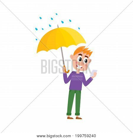vector boy child in casual clothing staying under rain keeping umbrella in hand. cartoon isolated illustration on a white background. Autumn activity kids concept