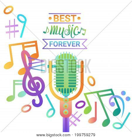 Music Microphone Banner Colorful Style Modern Musical Concert Poster Flat Vector Illustration