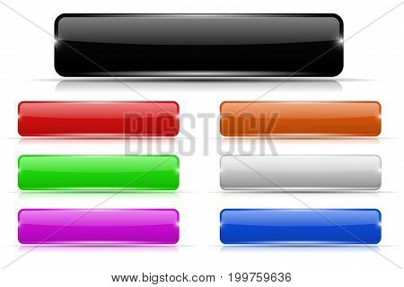 Colored buttons. Glass rectangular icons. Vector 3d illustration isolated on white background