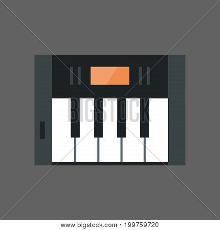 Music Keys Icon Electronic Piano Keyboard Concept Flat Vector Illustration