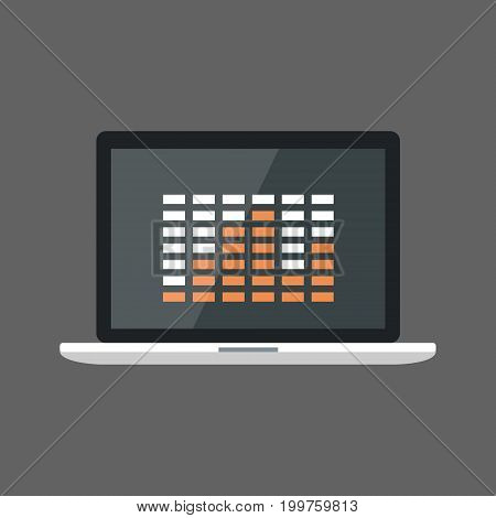 Laptop Computer With Equalizer Icon Sound Studio Equipment Flat Vector Illustration