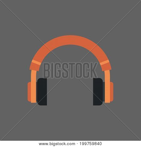 Headphones Icon Headset Audio Listening Equipment Flat Vector Illustration