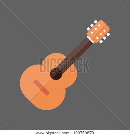 Acoustic Guitar Icon Music Instrument Concept Flat Vector Illustration