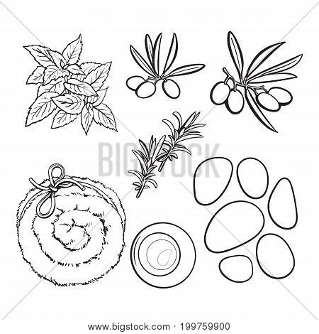 Set of spa salon accessories - basalt stones, massage oil, towel, candles, aromatic salt, black and white outline sketch vector illustration. Spa set - stones, massage oil, rolled up towel, candles