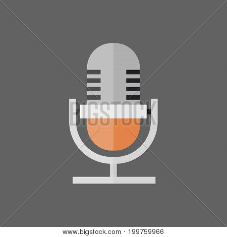 Microphone Icon Modern Mic Audio System Technology Flat Vector Illustration