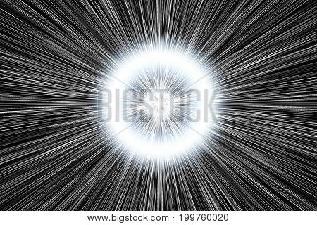Faster Than Light Speed Hyper Drive Jump Abstract Rays. Dynamite Burst Blast On Black Background 3D