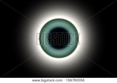 Human Blue-green Eye Macro Shot 3D Illustration
