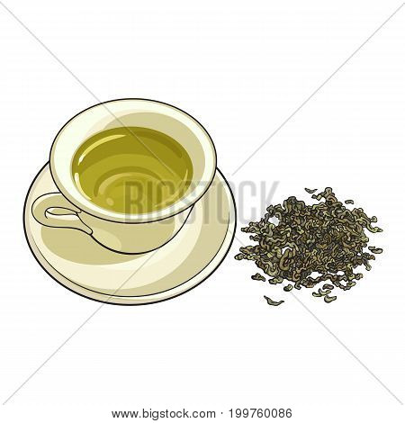 China, porcelain cup and pile of dry green tea, sketch vector illustration isolated on white background. Hand drawn porcelain, china mug and saucer set with pile, heap of green tea