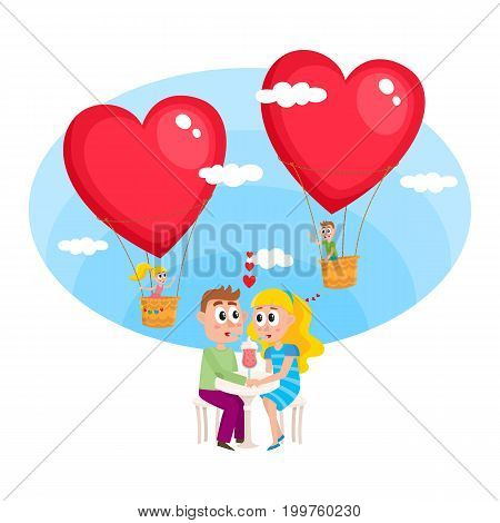 Loving couple, boy and girl, dating in cafe, flying in heart shaped hot air balloons to each other on the background, cartoon vector illustration. Loving couple dating in cafe, romantic relationships