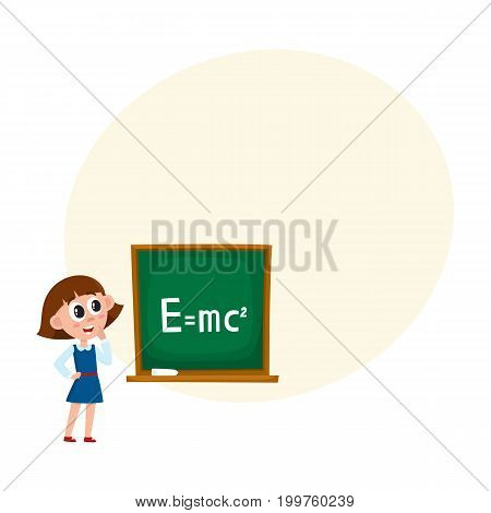 School girl answering at physics lesson, standing at blackboard, cartoon vector illustration isolated on white background with speech bubble