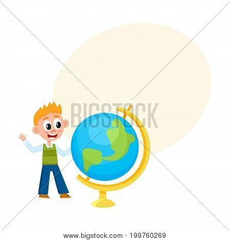 Boy, schoolboy looking at big school globe with interest, cartoon vector illustration isolated on white background with speech bubble