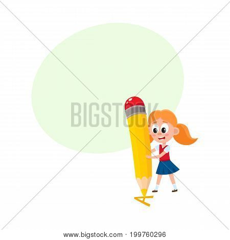 Little girl writing, drawing letter A with huge pencil, cartoon vector illustration isolated on white background with speech bubble