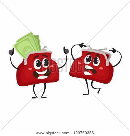 Vector money wallet characters set flat illustration isolated on a white background. Expressive puzzled, empty and happy full of money smiling wallets. Money, success wealth, poverty richness concept