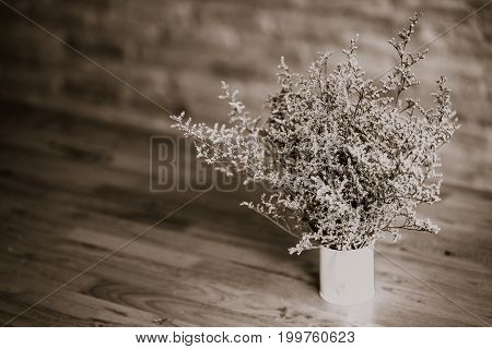 Dramatic Flowers Dried In Vase On Wood Table Vintage Tone