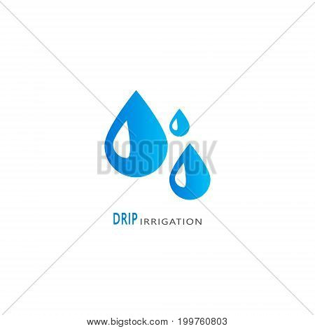 Drip irrigation icon. Vector logo design template for all types of irrigation.
