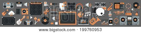 Seamless Pattern Music Instruments And Equipment Electronics Icons Flat Vector Illustration