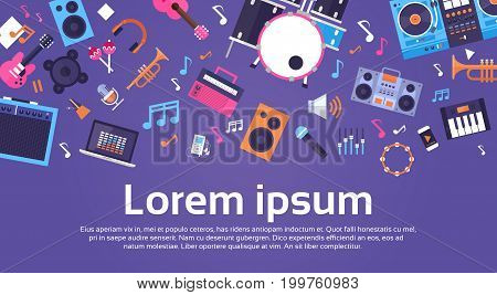 Music Instruments And Equipment Electronics Icons Banner With Copy Space Flat Vector Illustration