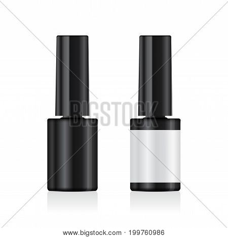Realistic Nail Polish Set Mock Up. 3d Vector Template for your design