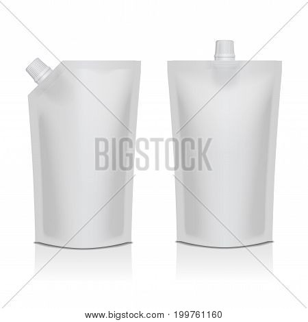 Set of white blank plastic doypack stand up pouch with spout. Flexible packaging mock up for food or drink for your design