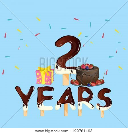 2 Years Anniversary celebration logo, with gift box and cake. Vector illustration