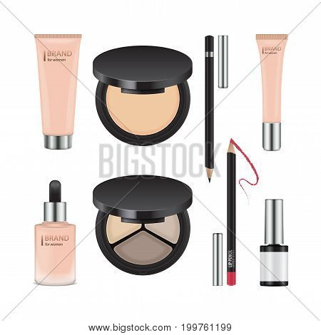 Vector set of realistic packages for decorative cosmetics. Template of containers for eye shadow, powder, nail polish, concealer, cream for your design
