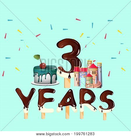 Three Years annyversary greeting card. Vector illustration