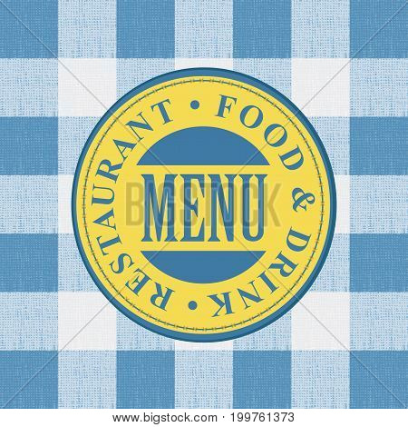 Vector banner for menu cafe or restaurant with a round fabric patch against the background of a white blue checkered tablecloth