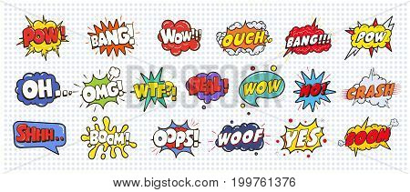 Comic sound speech effect bubbles set isolated on white background illustration. Wow, pow, bang, ouch, crash, woof, no, yes, boom, oh omg wtf deal oops inscriptions