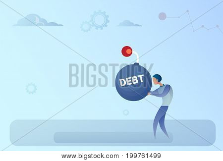 Business Man Hold Bomb Credit Debt Finance Crisis Concept Flat Vector Illustration
