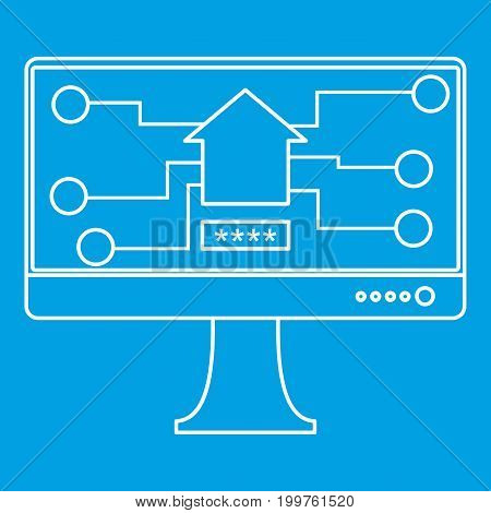 Monitor chip icon blue outline style isolated vector illustration. Thin line sign