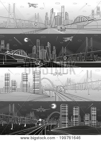 Infrastructure and transport panoramic set. Train move on railway. Airplane fly. Wide highway. Truck rides. Big bridge. Modern city, towers and skyscrapers. White and black lines. Vector design art poster